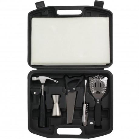 Coffret Cocktail Boîte à outils Set de 9 ustensiles de bar Noir et gris inox