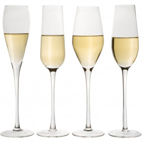 Flûtes à champagne Designs Transparentes Set de 4 assorties