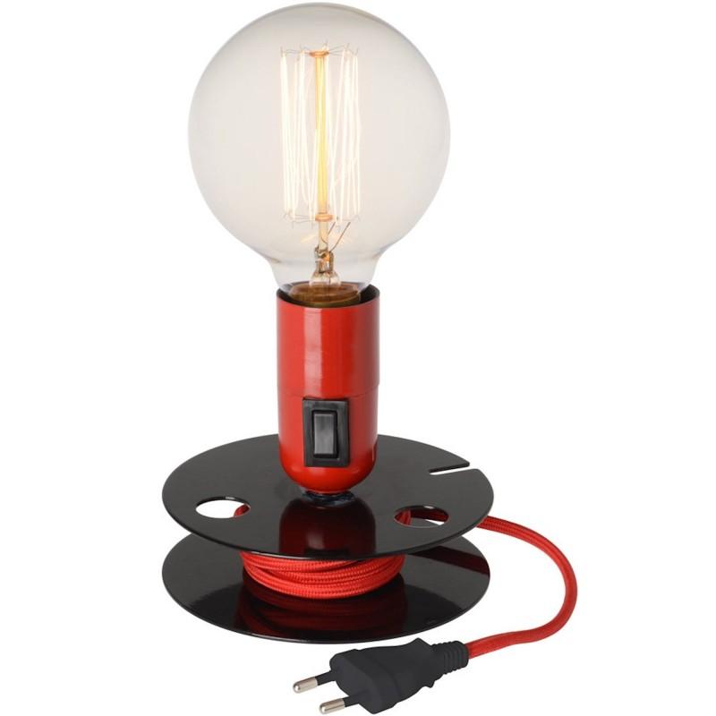 lampe bobine rouge avec ampoule filament surdimensionn e. Black Bedroom Furniture Sets. Home Design Ideas