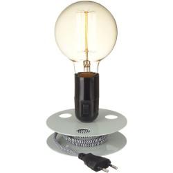 Lampe Bobine Vert de gris avec Ampoule à filament surdimensionnée