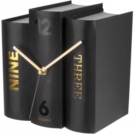 Horloge à poser Trompe-l'oeil Livres Book Noir