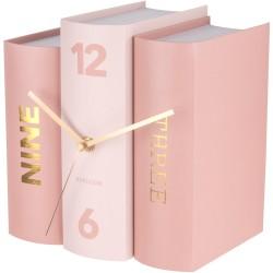 Horloge à poser Trompe-l'oeil Livres Book Rose