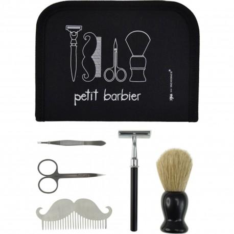 Kit Barbe Petit barbier Trousse et accessoires 6 pièces Noir