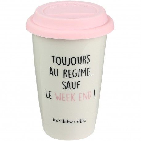 Mug hermétique isotherme Coffee addict Gris
