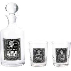 Coffret Whisky Carafe et ses 2 verres assortis Transparent et noir