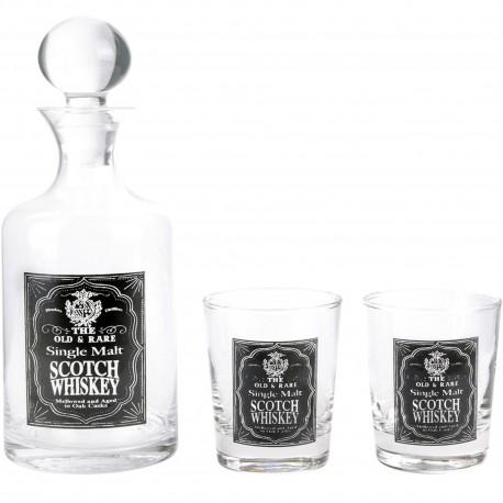 Coffret Whisky Carafe avec bouchon et ses 2 verres assortis Transparent et noir