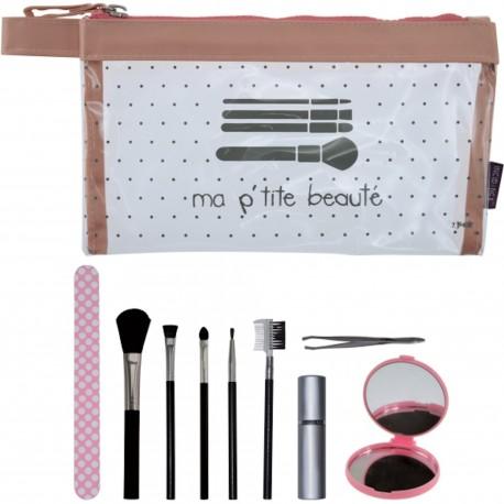 Kit Krystal Mon p'tit spa Beauté Trousse et accessoires 10 pièces Transparent et rose