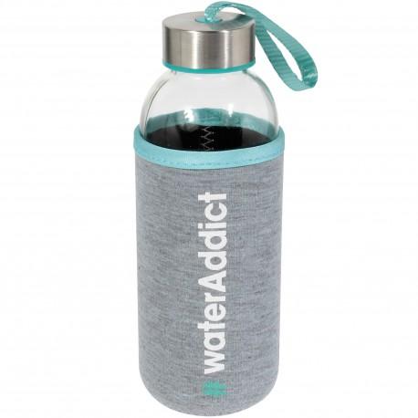 Bouteille nomade Water addict avec Housse néoprène Gris et bleu