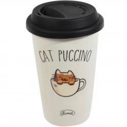 Mug Take away Cat Puccino Blanc couvercle noir