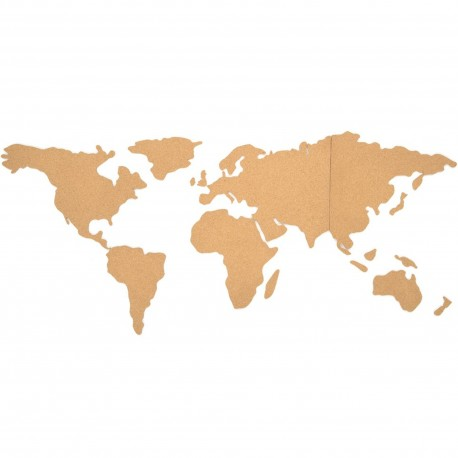 Carte du monde planisphère murale adhésive en liège Beige
