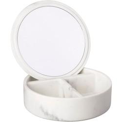 Boîte à bijoux Avec miroir Carrare Façon marbre blanc