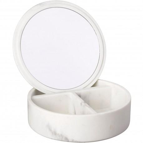 Boîte à bijoux ronde Avec miroir Carrare Façon marbre blanc