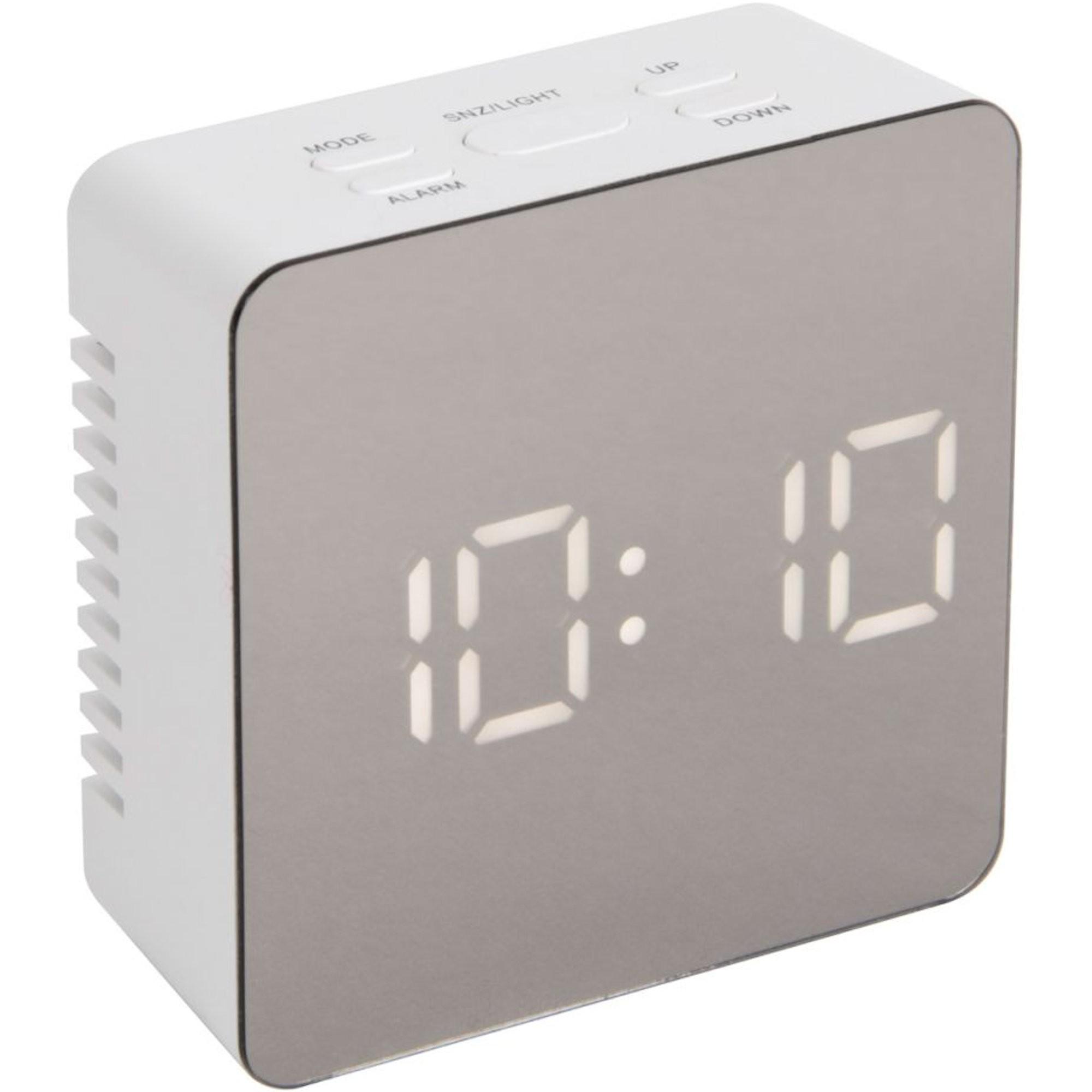 Réveil numérique LED Miroir Square Blanc