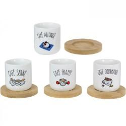 Tasses à café et leurs sous-tasses Café allongé frappé gourmand serré Set de 4 assorties