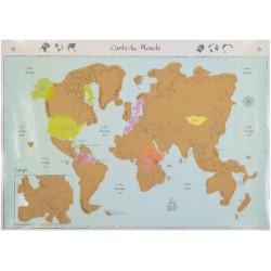 Carte du monde planisphère murale à gratter