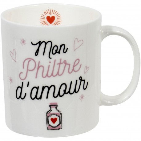 Mug Mon philtre d'amour Blanc et rose
