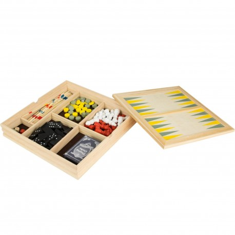 Jeux en bois 7 en 1 Backgammon Dames Echecs Dominos Mikados Dés Cartes