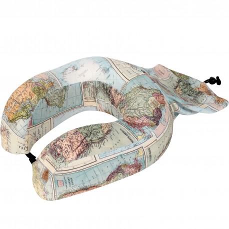 Coussin de voyage avec sac de rangement intégré Carte du monde Map
