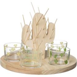 Set Pics apéritif et 5 verrines coupelles avec support et plateau Cactus Beige et transparent