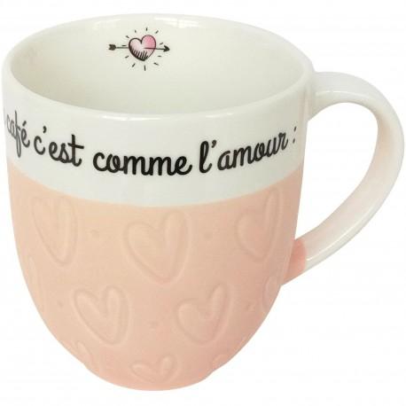 Mug Coeur Le café c'est comme l'amour c'est meilleur au lit Rose et blanc