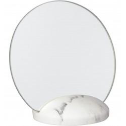 Miroir de table Carrare Rond Sur socle Façon marbre blanc