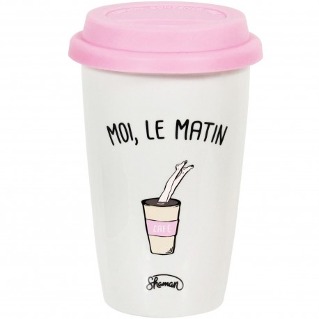 Mug Take away Moi le matin Café Blanc couvercle rose