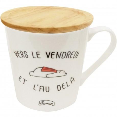 Mug avec couvercle sous-tasse Vers le vendredi et l'au delà Blanc et beige