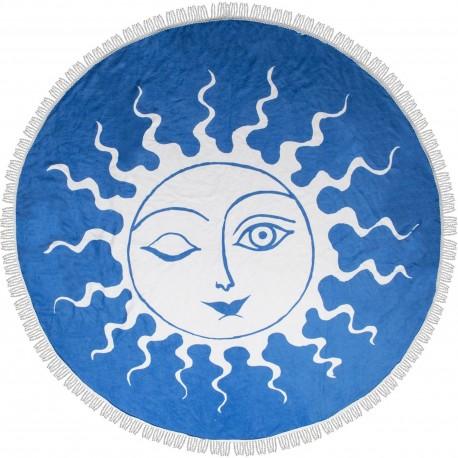 Drap de plage Serviette de bain ronde Soleil Bleu et blanc