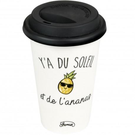 Mug Take away Y'a du soleil et de l'ananas Blanc couvercle noir