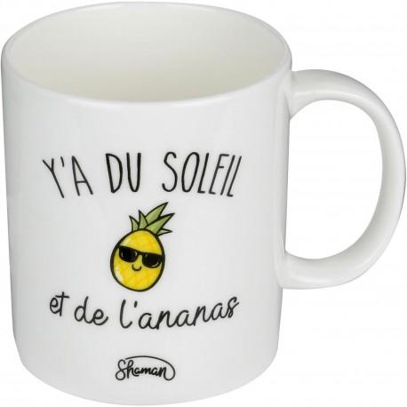 Mug Y'a du soleil et de l'ananas Blanc