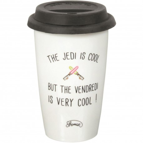 Mug Take away The Jedi is cool but the Vendredi is very cool Blanc couvercle noir