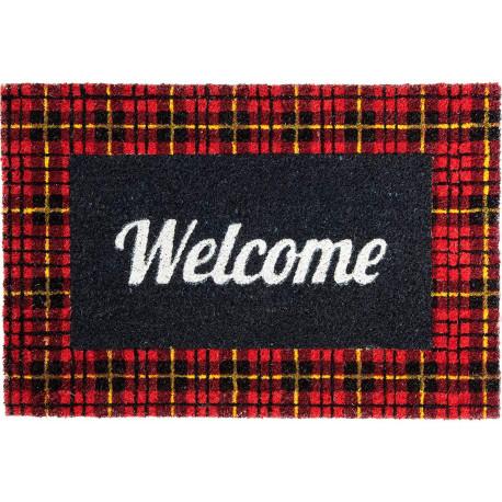 Paillasson rectangulaire Welcome Noir et rouge