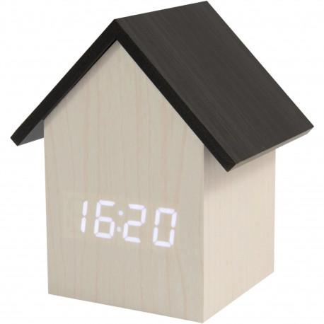 Réveil numérique LED Maison House Blanc et gris