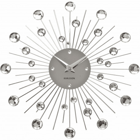 Horloge murale ronde Sunburst Crystal Medium Gris chrome