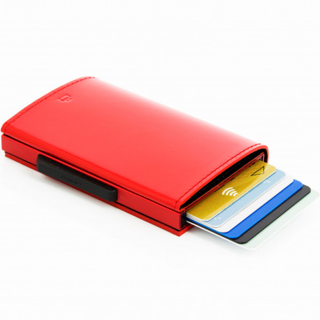 Portefeuille Cascade Wallet Glossy cherry Cuir verni rouge cerise Aluminium rouge