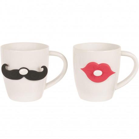 Mugs Mr & Mrs Moustache et bouche Set de 2 assortis Blanc noir et rouge