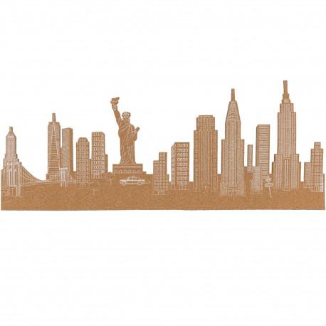 Mémo mural adhésif en liège Skyline New-York Beige et blanc