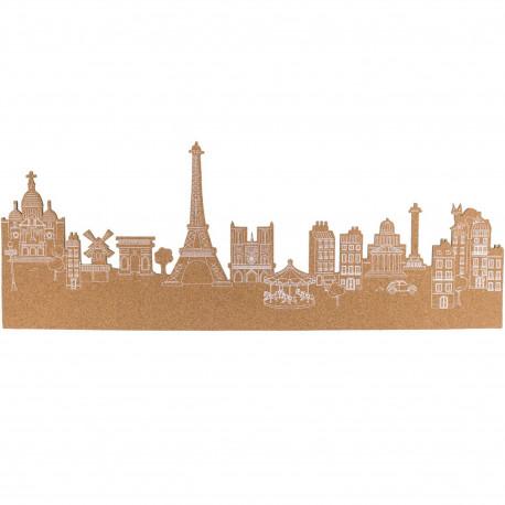 Mémo mural adhésif en liège Skyline Paris Beige et blanc