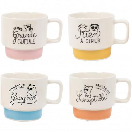 Tasses à café empilables Monsieur Madame Grognon Susceptible Rien à cirer Grande gueule Set de 4 assorties Blanc et multicolore