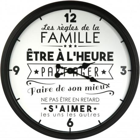 Horloge murale ronde La vie en famille Noir et blanc