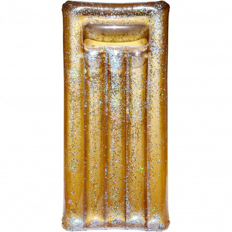 Matelas bouée gonflable Doré et transparent à paillettes dorées