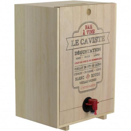 Fontaine à boisson Distributeur robinet Cave cache-cubis de vin Le caviste ou Cuvée du jour Bois Beige