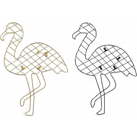 Pêle-mêle mémo photos LED Flamant Avec 4 pinces clips Doré ou Noir (MA)