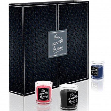 Bougies parfumées For candle lovers Coffret de 12 assorties Pots Bleu rose et gris