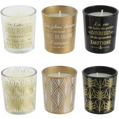 Bougies parfumées Home déco art Coffret de 6 assorties Pots doré noir et transparent