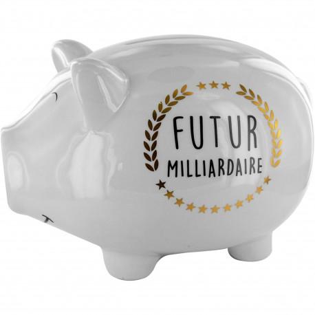 Tirelire Cochon XXL Futur milliardaire Blanc noir et doré