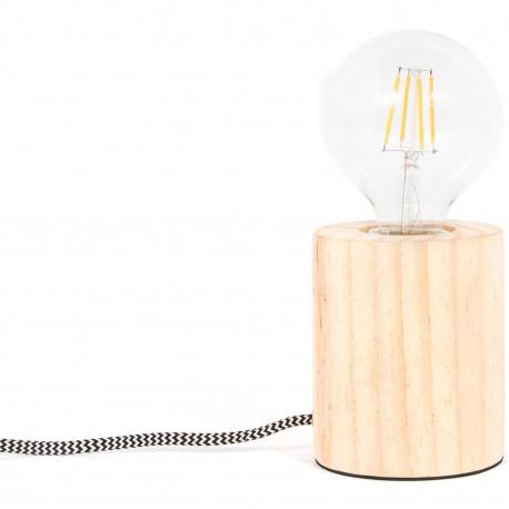 Lampe Cylindre Bois naturel Beige Câble tressé tissu gris et blanc