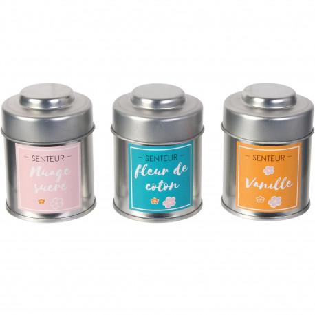 Bougies parfumées Sweet Coffret livre de 3 assorties Pots métal Gris rose bleu et orange