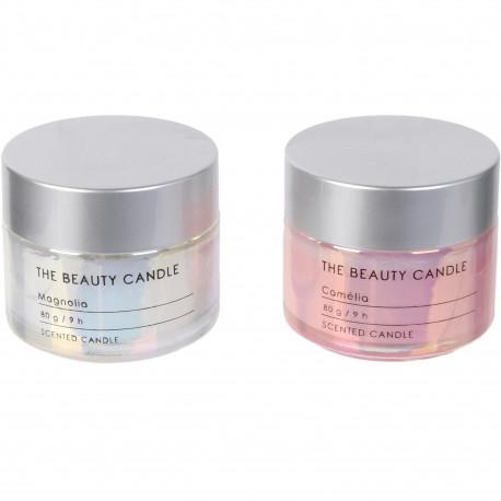 Bougies parfumées Beauty Coffret livre de 2 assorties Pots de crème Blanc et rose