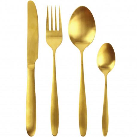Ménagère 16 couverts Couteaux Fourchettes Cuillères à soupe et Cuillères à café Métal inox Doré